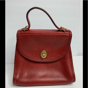 VINTAGE SMALL HANDBAG PURSE COACH RED WITH GOLD